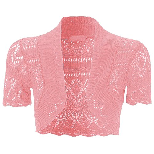 NEW KIDS GIRLS Bolero Crochet Knitted Cardigan Shrugs Top 7-13 Years (11-12, Baby Pink)