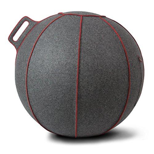 Hock VLUV VELT Merino-Wollfilz Sitzball 65cm Grau Meliert / Rot