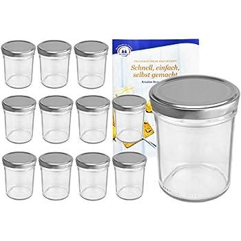 25 Sturzgläser 230ml Marmeladengläser Einmachglas Einweckglas schwarz Rezeptheft