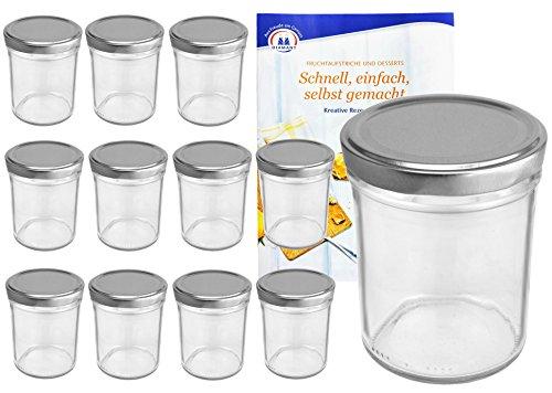 MamboCat 12er Set Sturzgläser 230 ml Hoch Deckelfarbe silber To 66 inkl. Diamant Gelierzauber Rezeptheft, Marmeladengläser, Einmachgläser, Einweckgläser, Gläser