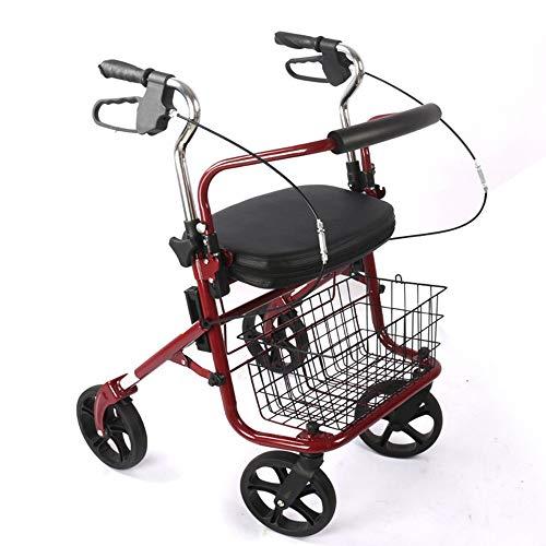 HYJ Andadores Ancianos Ligero, Plegable de Aluminio, con Ruedas, Andador con Ruedas, Asiento Ajustable, Rojo