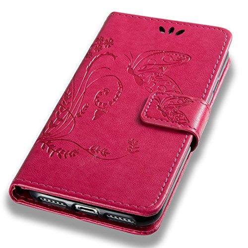 Coque iPhone 8 blanc 3D Papillon Portefeuille Fermoir Magnétique Supporter Flip Téléphone Protection Housse Case Étui Pour Apple iPhone 8 + Deux cadeau Rose