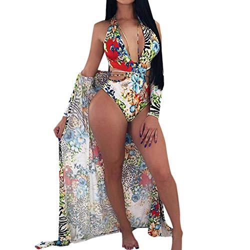Dhyuen Frauen Einteiliger Blumen V-Ausschnitt Badeanzug Bikini Bademode Sandy Beach (Ohne Schal)