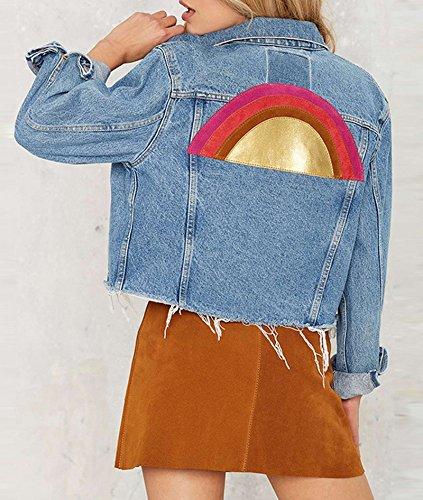 Smile YKK Manteau Jean Femme Manche Longue Blouson Vintage Veste Courte Casual Mince Mode Bleu