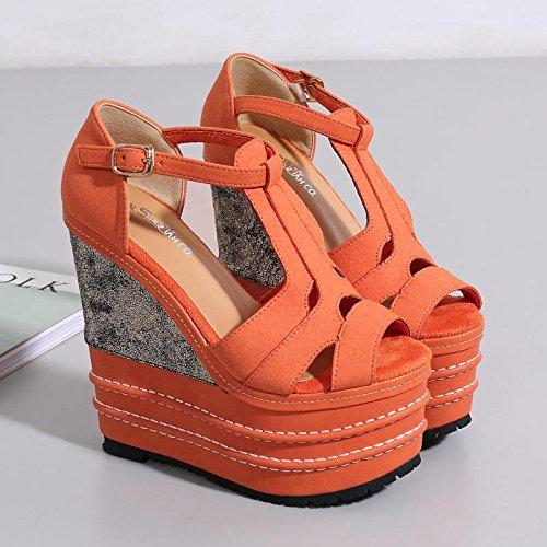 LvYuan Frauen Sommer Sandalen / Büro & Karriere / Sexy Ultra High Heel / Wasserdichte Plattform / Wedge Heel / Peep-Toe Gürtelschnalle / böhmischen nationalen Stil Orange