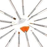 Kurtzy Set PincelesNail Art 20 pcs - Manicura Uñas Pintura Lunares y Decorar - Herramientas para Gel UV, Polvo, Colocar Brillo - 15 Pinceles de Arte 5 Punzones - Regalo Perfecto para Seres Queridos