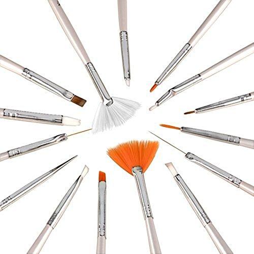 Set Herramientas Nail Art 20 Piezas Pincel Diseño por Kurtzy - Herramientas Manicura Uñas para Esmalte, Gel, Gemas y Purpurina - 15 Pinceles Variados con 5 Punzones - El Mejor Kit Accesorios Uñas