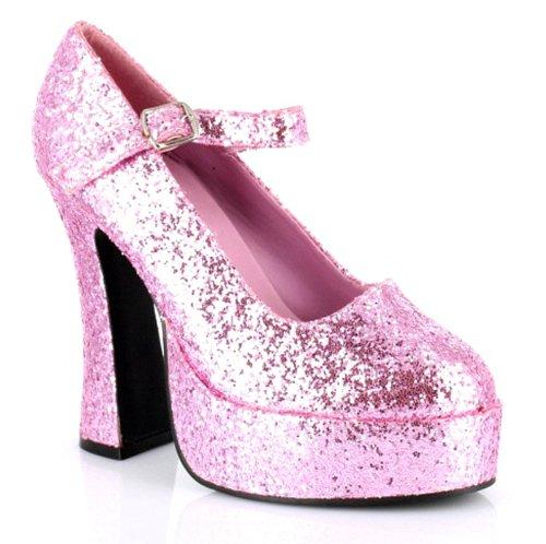 Damen Weiß Patent Mary Jane Schuhe Gr. 4, rose - Glitter Patent Schuhe