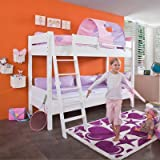 Relita BE3032317-B90+TX5072039 Etagenbett STEFAN, Maße 208 x 160 / 230 x 98 / 143 cm, Liegefläche 90 x 200 cm, Buche massiv weiß lackiert