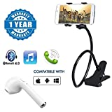 #9: Captcha Unique Flexible 360 degree Foldable Long Snake Style Mobile Holder Stand with i7 Wireless Bluetooth Headset Earphone Mini Earbud Headphones With Mic Compatible with Xiaomi, Lenovo, Apple, Samsung, Sony, Oppo, Gionee, Vivo Smartphones (One Year Warranty)