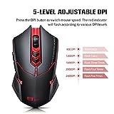 VicTsing 2,4 GHz Maus Schnurlos Kabellos Wireless Optical Mouse Mäuse mit 7 Tasten, 2400 DPI, USB Nano Empfänger - Rot