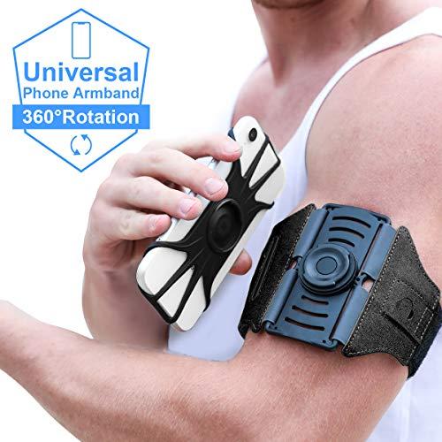 VUP Brassard Multifonctionnel détachable de Sport l'Anti-Sueur pour Tous Les téléphones avec Un écran de 4,0 à 6,5 Pouces,360°Rotatif avec la Sangle Adjustable Brassard de Sport