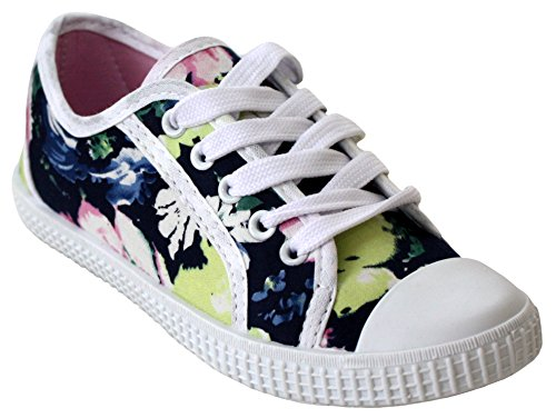 Blue Schuhe Flache Footwear amp;h Baby A Dark Schnüren Floral Mädchen Zum wzXnqIHPx