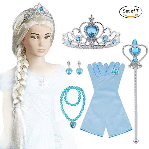 Vicloon aggiornamento accessori costumi per ragazze costume elsa frozen costume carnevale - parrucca / diadema con un diamante / guanti / bacchetta magica
