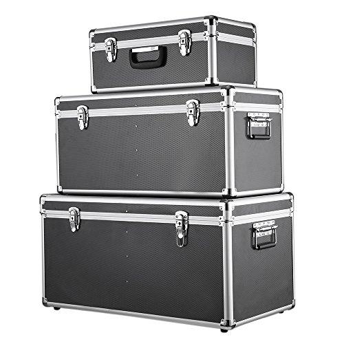 Preisvergleich Produktbild iKayaa 3er Set Transportkoffer Aluminiumkoffer Werkzeugkoffer mit Aluminiumrahmen und ABS Schwarz