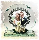 Personalisierte Hochzeitstag Geschenk Foto, geschliffenes Glas Gedenktafel mit ihr eigenen Foto auf der Plaque