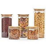 EZOWare Set di 5 Barattoli di Vetro, Contenitori Barattoli per la Conservazione degli Alimenti con Coperchio di Legno bambù Ermetico per tè caffè Farina Cereali Fagioli, Vetro Borosilicato