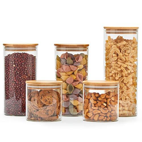 EZOWare 5er Set Glas Vorratsdosen, Vorratsgläser aus Borosilikatglas Küche Lebensmittel Lagerung Behälter mit Bambus Deckel