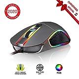 KLIM Aim Mouse da Gaming Chroma RGB - con Cavo USB - Regolabile da 500 a 7000 DPI - Pulsanti Programmabili - Presa Eccellente per Ambidestri - da Gioco per Gamer Videogiochi - PC PS4 Xbox One - Gray