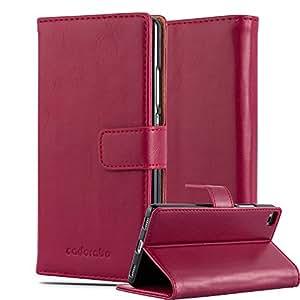Huawei P8 Custodia di Libro di Finta-Pelle in ROSSO VINACCIA di Cadorabo (Disegno LUXURY) – con Vani di Carte Funzione Stand e Chiusura Magnetica – Protezione per Fronte e Retro Portafoglio Cover Case Wallet Book Etui Full Body