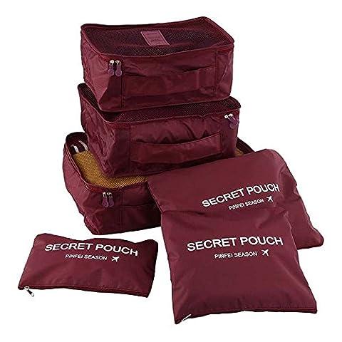 YSBER 6 Pcs Packing Cubes Set, 6 verschiedene große wasserdichte Nylon Travel Gepäck Organizer(Weinrot)