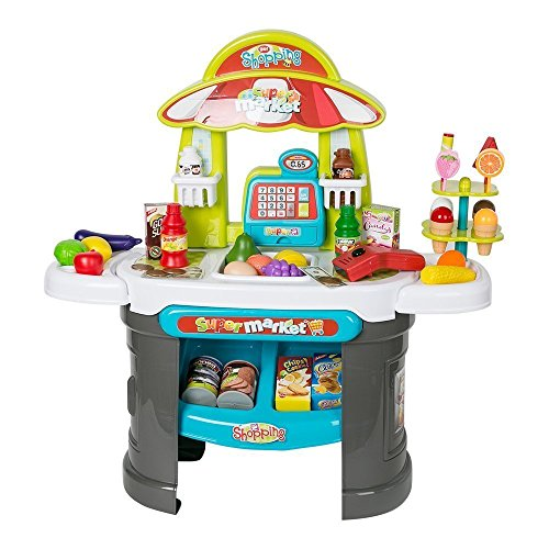 Babytintin Children Role Play Supermarket Shop Toy Set With Scanner Cashier Till Set with Lights Sounds & Food Game Activity Educational Creative Kitchen Play Set Kitchen Set Toy For Girl Preschool Toys