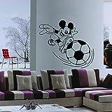 creativo del fumetto del mouse giocare a calcio in vinile decalcomania della parete camera dei bambini decor camera da letto adesivi murali diy arte murale wallp 57 * 50 cm