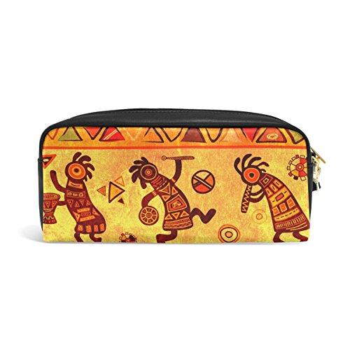 zzkko africana tradicional patrón funda de piel cremallera lápiz pluma estacionaria bolso de la bolsa de cosméticos bolsa bolso de mano