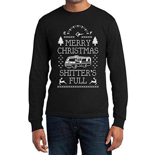 Merry Christmas Shitter's Full Langarm T-Shirt - Witziger Weihnachtspullover Schwarz