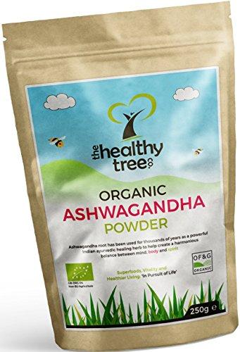 Ashwagandha BIO en Poudre - Herbe curative ayurvédique 100% naturelle pour équilibrer l'esprit et le corps avec withanolides (5%) - Poudre de racine pure d'Ashwagandha par TheHealthyTree Company