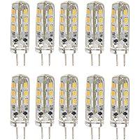Pixnor 10pcs risparmio energetico G4 12V DC 1.5W 3014 24 SMD LED lampadine LED lampade luci (bianco caldo)