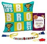 #6: TiedRibbons Raksha Bandhan Gifts for Brother Printed Cushion(12 Inch X 12 Inch) with Rakhi and Roli Chawal pack