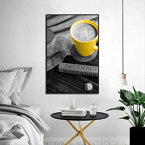LWJZQT Leinwanddrucke Nordic Modernen Minimalistischen Stil Kaffeetasse Kunst Malerei Wohnzimmer Sofa Hintergrund Wanddekoration Hängen Bild Rahmenlose 50×70cm