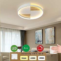 Holz LED-Deckenleuchte Modern Lampe Runde Dimmbar Ultradünn Deckenlampe, Dekor Wohnzimmer Schlafzimmer Decke Licht Holz Lampen für Esszimmer Büro Kinderzimmer Deckenbeleuchtung, 32W Ø50cm 2500LM Weiß