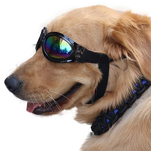 YD-outdoor 6 Stück große Hundebrille Sonnenbrillen, UV-Augenschutz wasserdicht Haustier Sonnenbrille Retriever Brille, Verstellbarer Gurt, über 13 kg