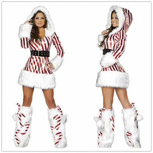 Weihnachtskostüm Adult Weihnachtskostüm Striped Weihnachtskostüm Cos Weihnachtsmann Kostüm Christmas Overall,Rot,Einheitsgröße