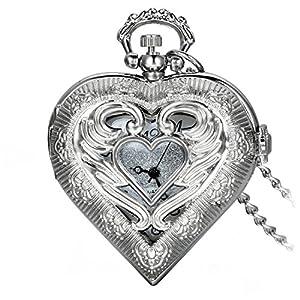 Avaner Regalo de Navidad Reloj de Bolsillo Retro Vintage en Forma de Corazon Plateado, Colgante de Amor Collar Largo de 78 CM, Cuarzo Reloj Para Mujer Regalo de San Valentin marca Avaner