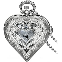 """Avaner Retro Alloy Angle Wing Heart Locket Shape Hollow Pendant Arabic Numbers Display Analog Quartz Pocket Watch Jewelry Necklace with 30"""" Chain"""