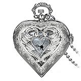 Avaner Damen analog Quarzwerk Uhr Taschenuhr Herz Form Hohl Flügel Medaillon mit arabische Ziffern Silber Avaner01P-40