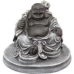 Glücksbuddha Figur - Schwarz/Schiefergrau, Buddha, Statue, Deko, Geschenk, Steinguss