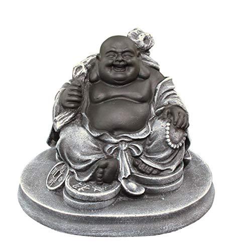Glücksbuddha Figur - Schwarz/Schiefergrau