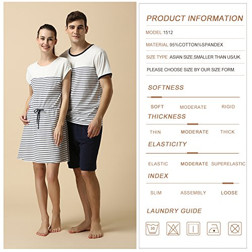 QianXiu Sommer Nachtwäsche Herren Schlafanzug Striped Pajamas Kurzer Hülsensatz Schlafanzüge Modal Pyjama Gesetzt White