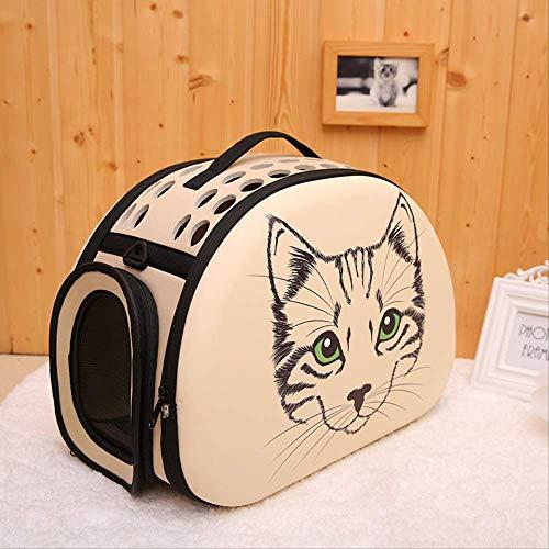 AHJSN pet Carrier 3D Muster pet Bag atmungsaktive Schulter diagonal Rucksack kätzchen Hund heraus Eva pet Bag 44 * 28 * 32 cm beige-Big Head Aufkleber