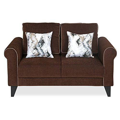 @home by Nilkamal Shelby Two Seater Sectional Sofa (Matte Finish, Brown)