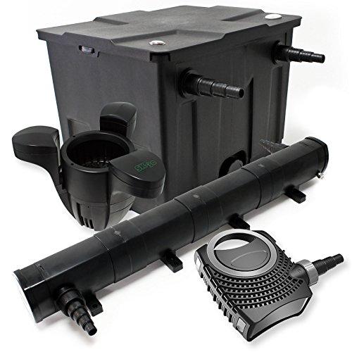 WilTec Kit de Filtration Bassin Bio 12000l Stérilisateur UVC 72W 80W Pompe éco Ecumeur