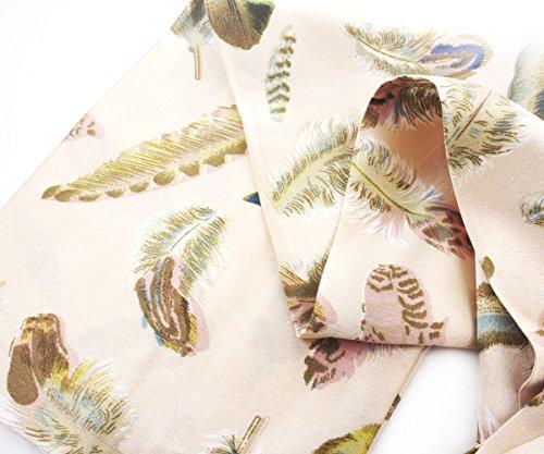 1pc Nude Rosa Federn Vogel-Print-Skinny Silk Frauen Band-Schal Stirnband Für Handarbeit Und Handwerk 140cm x 16cm
