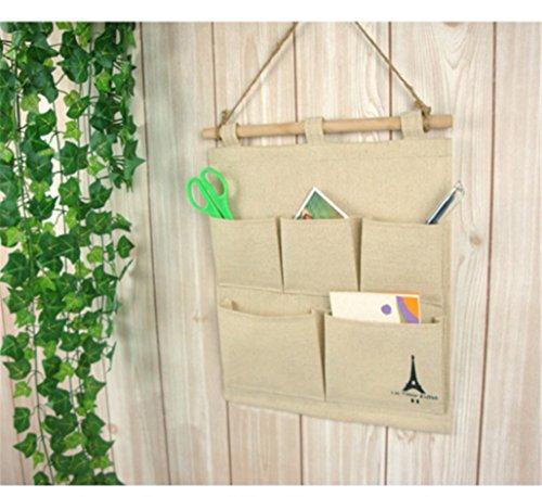 Turm-Speicher-hängende Beutel-Baumwollleinen-an der Wand befestigte Speicher-Beutel-Gewebe-Rückstand-Wand-Tür-Schrank mit 5 Taschen