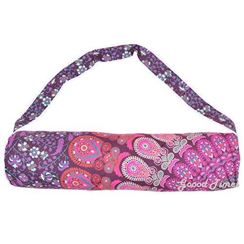 Handmade mandala cotone tappetino da yoga, con tracolla, Purple, L