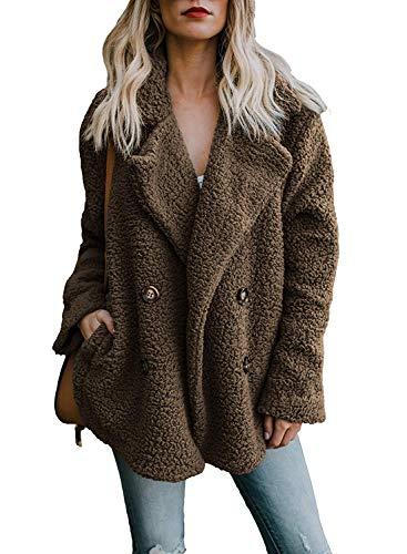 Winterjacke Wintermantel Damen Mantel Winter Kurz Pelz Dünner Teddy Knitted Cardigan Outwear Lady Jacket Elegant Womens Winter Coat Braun