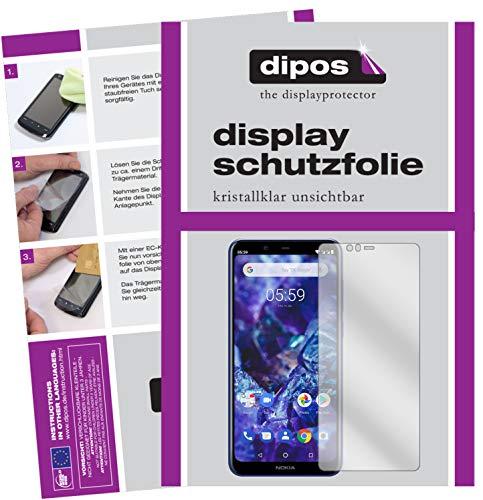 dipos I 2X Schutzfolie klar passend für Nokia 5.1 Plus Folie Bildschirmschutzfolie